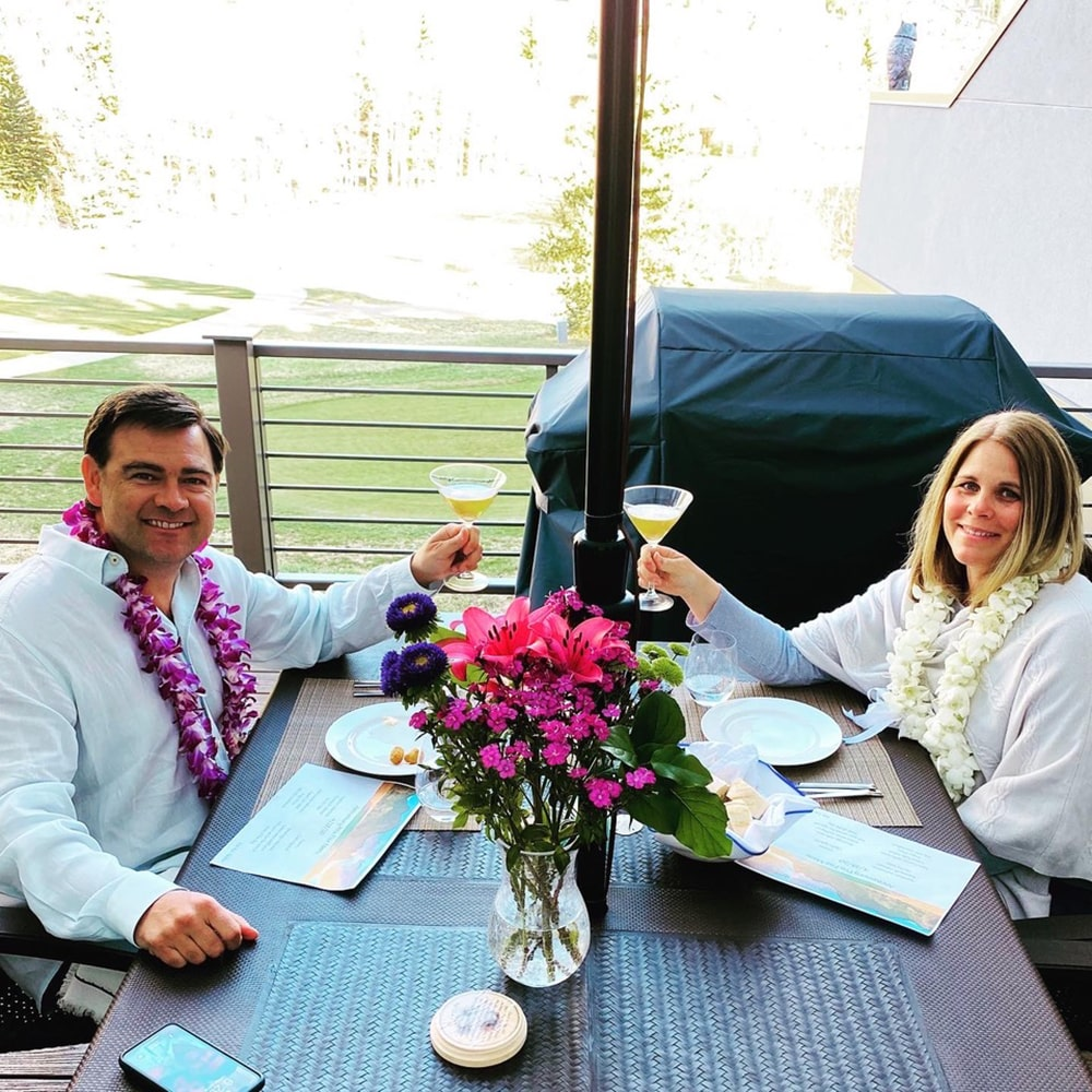 Eric and Stacey Schmela celebrate their 19th anniversary in Hawaiian style.