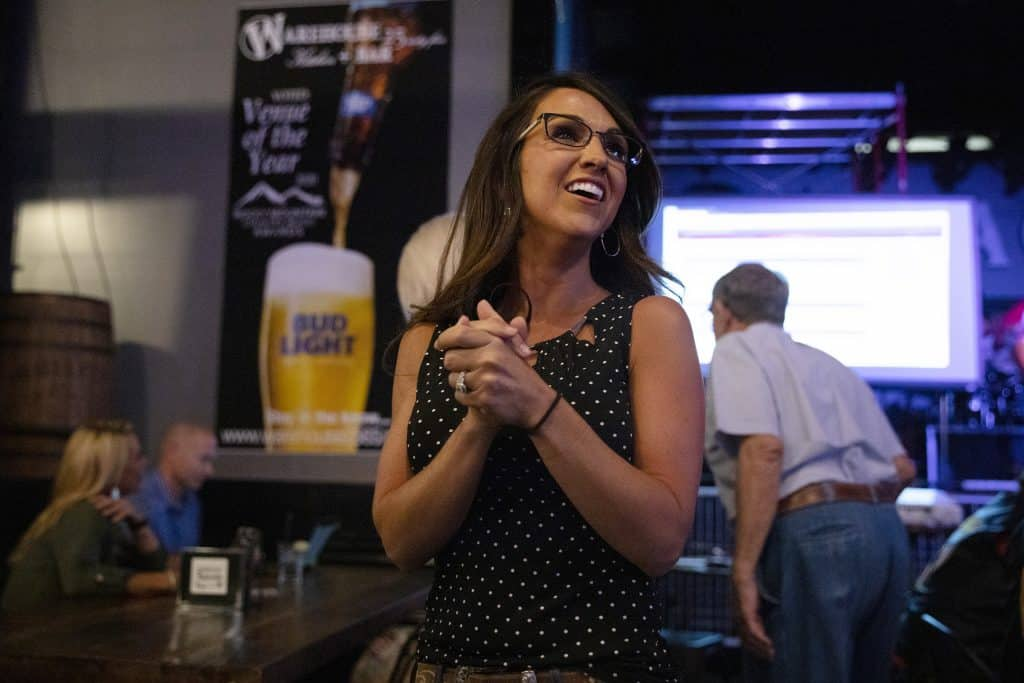 Lauren Boebert waits for returns during a watch party in Grand Junction, Colo., Tuesday, June 30, 2020. Boebert defeated five-term Rep. Scott Tipton in the Republican primary in the 3rd Congressional District. (McKenzie Lange/The Grand Junction Daily Sentinel via AP)