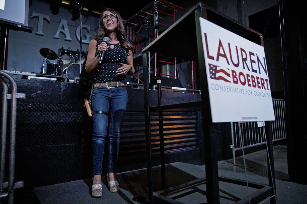 Businesswoman Lauren Boebert speaks during a watch party in Grand Junction, Colo., after polls closed in Colorado's primary, Tuesday, June 30, 2020. Boebert defeated five-term Rep. Scott Tipton in the Republican primary in the 3rd Congressional District. (McKenzie Lange/The Grand Junction Daily Sentinel via AP)