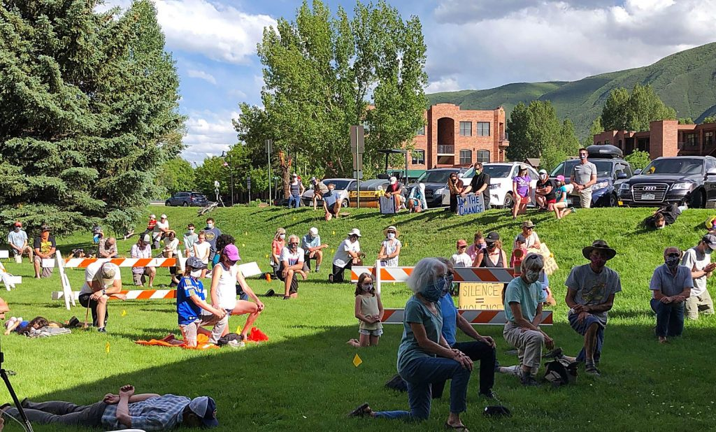 A crowd in Basalt took a knee or laid on the ground for 8 minutes and 46 seconds Sunday to honor and remember George Floyd.