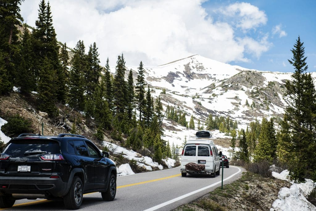 A line of cars snake their way to the summit in the first hour of Independence Pass being officially open to motor vehicles for the summer on Monday, June 1, 2020.