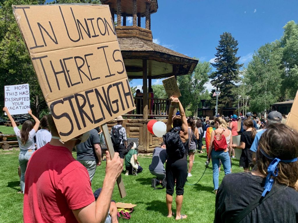 Protesters gather at Paepcke Park during a Black Lives Matter protest on Sunday, June 7, 2020, in Aspen. (Photo by Austin Colbert/The Aspen Times)