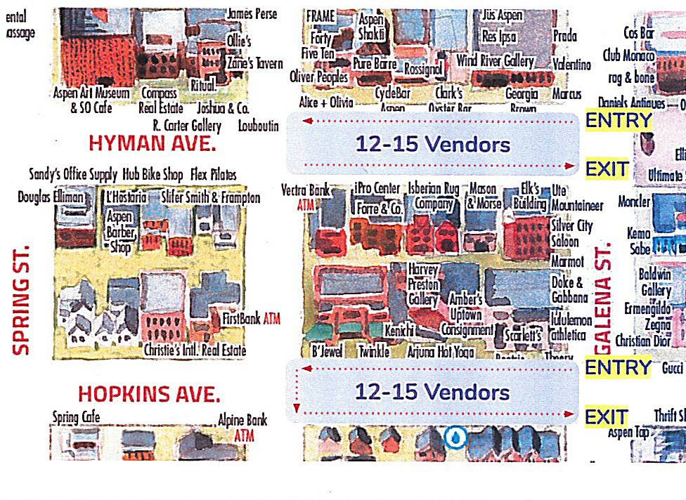 A map of what the Aspen Saturday Farmers Market layout will look like.