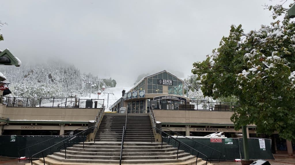 Snow blanketed the base of Aspen Mountain on Tuesday morning.
