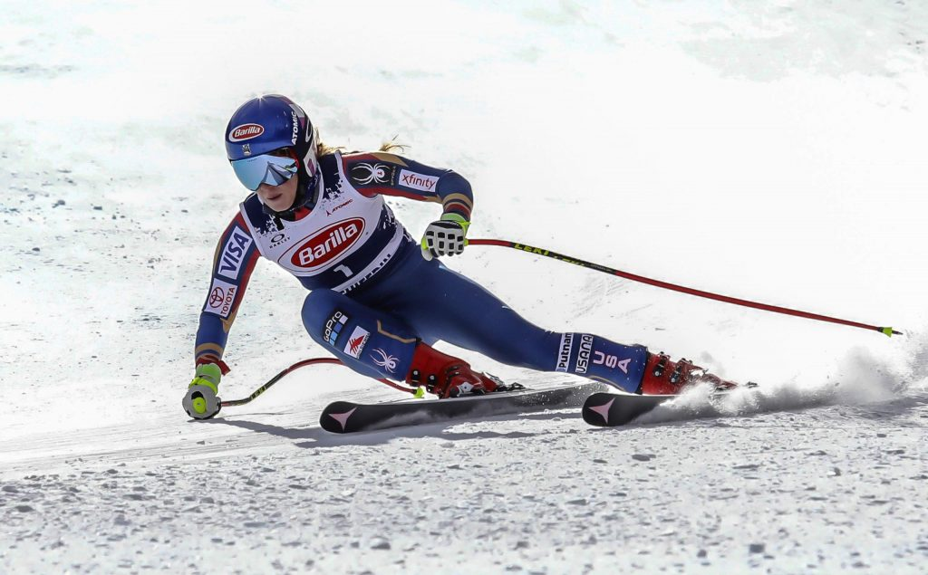 Mikaela Shiffrin gets low in her turn during a 2017 downhill training run at Copper Mountain.