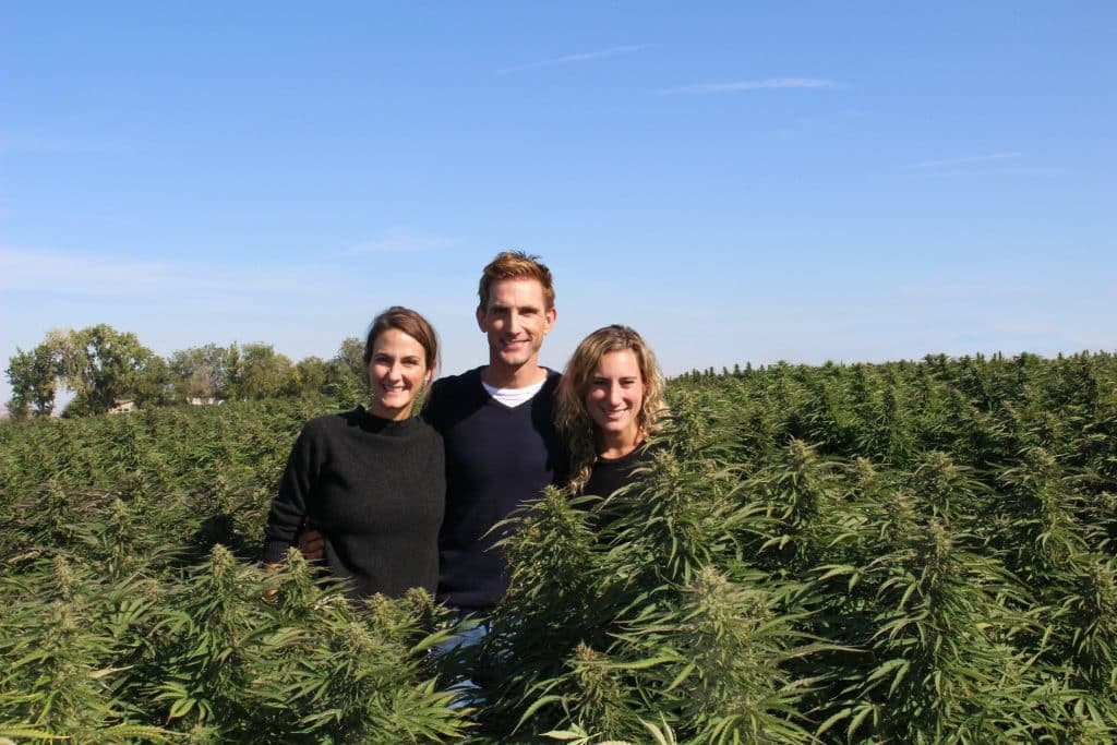 Prima co-founders, from left, Laurel Angelica Myers, Christopher Gavigan and Jessica Assaf on their partner hemp farm in Oregon.