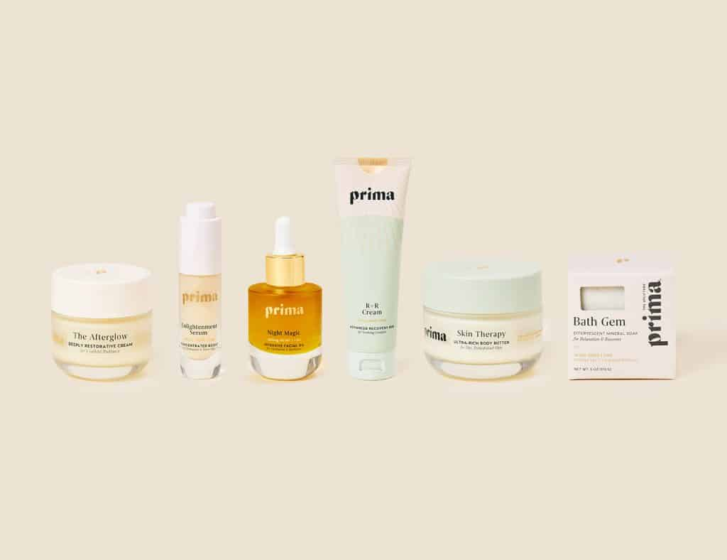 Prima's product offering for Sephora includes: The Afterglow, Enlightenment Serum, Night Magic, R+R Cream, Skin Therapy and Bath Gem.
