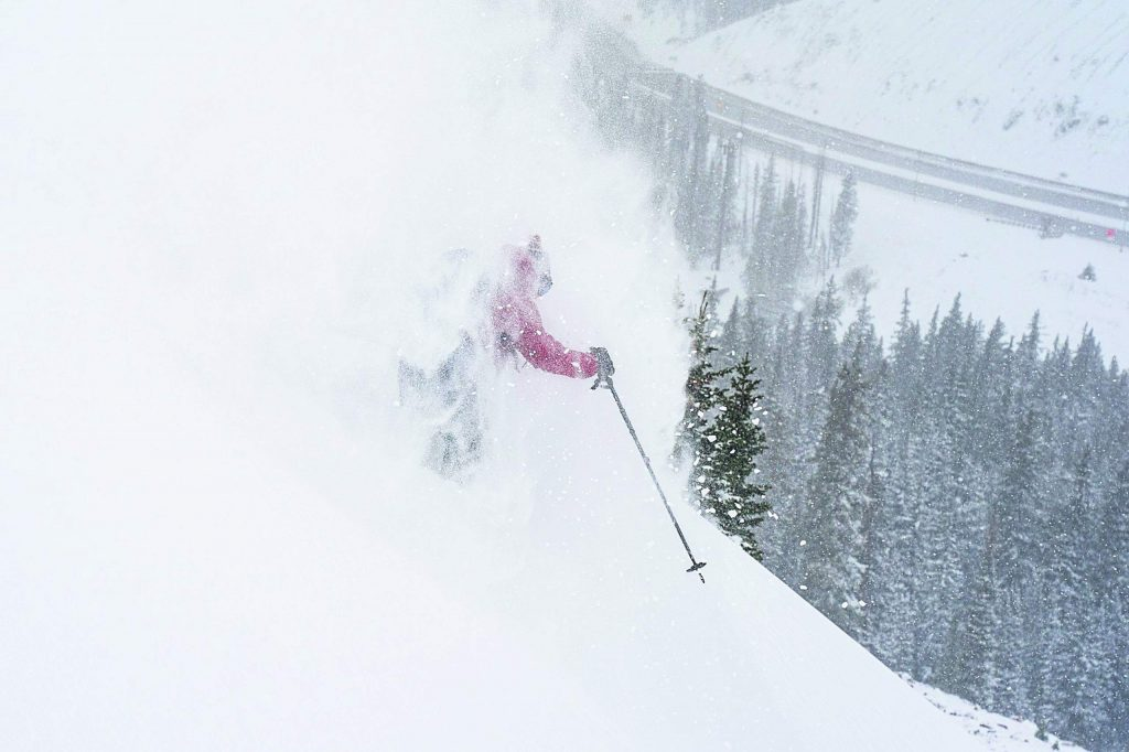 Gary Fondl skis powder Tuesday morning in the Loveland Pass area.