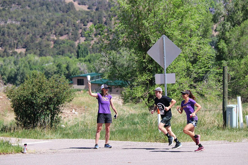 Teachers lined the course and ran with eighth-grade students to cheer them on during the Kate Keenan Memorial Mile Run, held June 1, which symbolizes their transition from Basalt Middle School to Basalt High School. Principal Ellsperman greeted them with a cowbell.