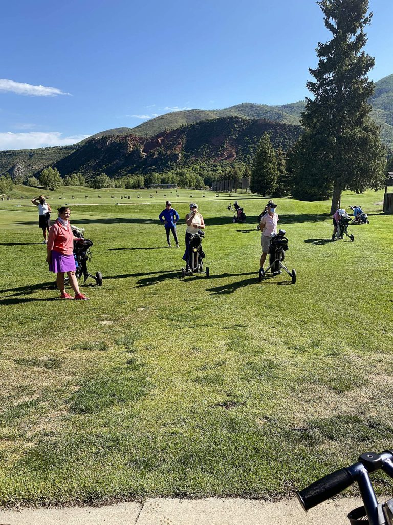 The members of Aspen Women's Golf Association recently practiced distancing before teeing off at the Aspen Golf Club.