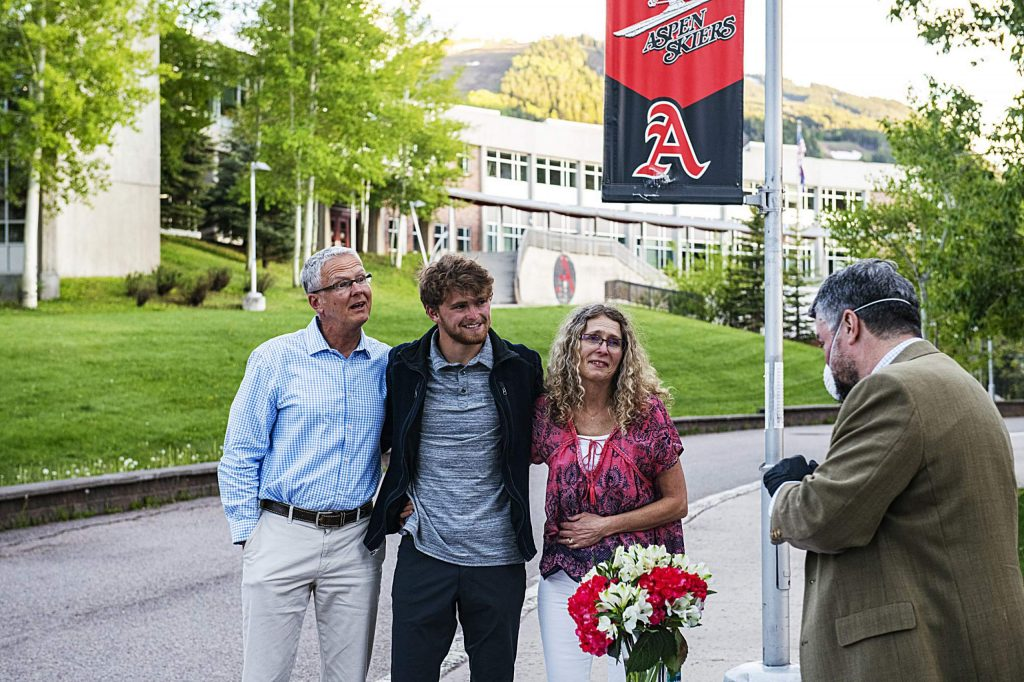 Jonathan Woodrow and his family react as he's presented as one of the two male athletes of the year at Aspen High School on Thursday, May 28, 2020. (Kelsey Brunner/The Aspen Times)