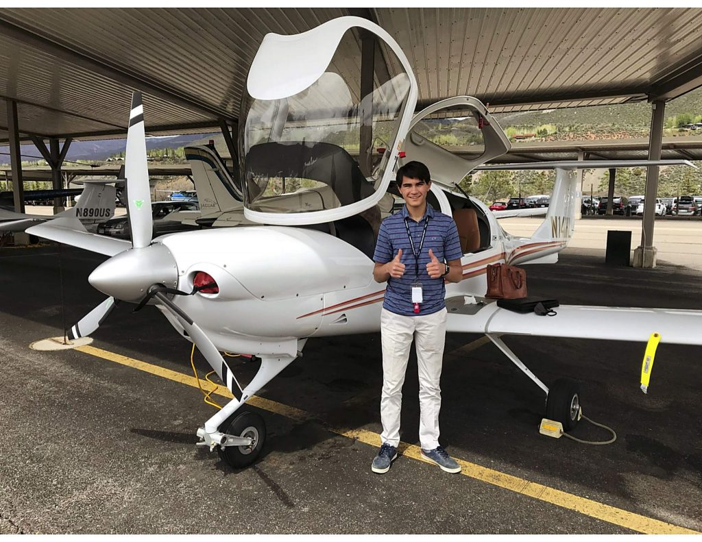 Zane Zachary, 17, posed for a photo after his first solo flight in the Aspen Flight Academy's Diamond DA40 aircraft.