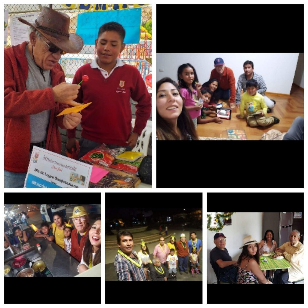 A collage of recent photos of Sy Coleman and his family in Peru.