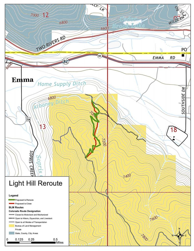 This map shows the work planned for the rerouted trail up Light Hill near Basalt High School, which is marked as