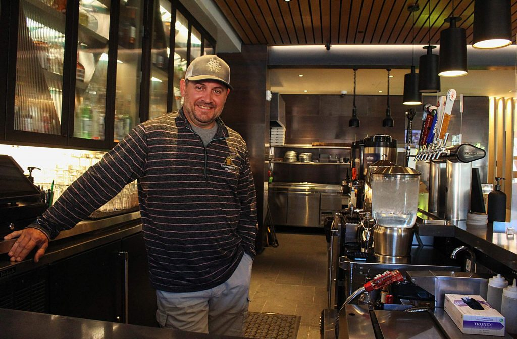 Doug McGrath stands behind the Limelight Snowmass bar where he works as a bartender on June 23, 2020. (Maddie Vincent/Snowmass Sun).