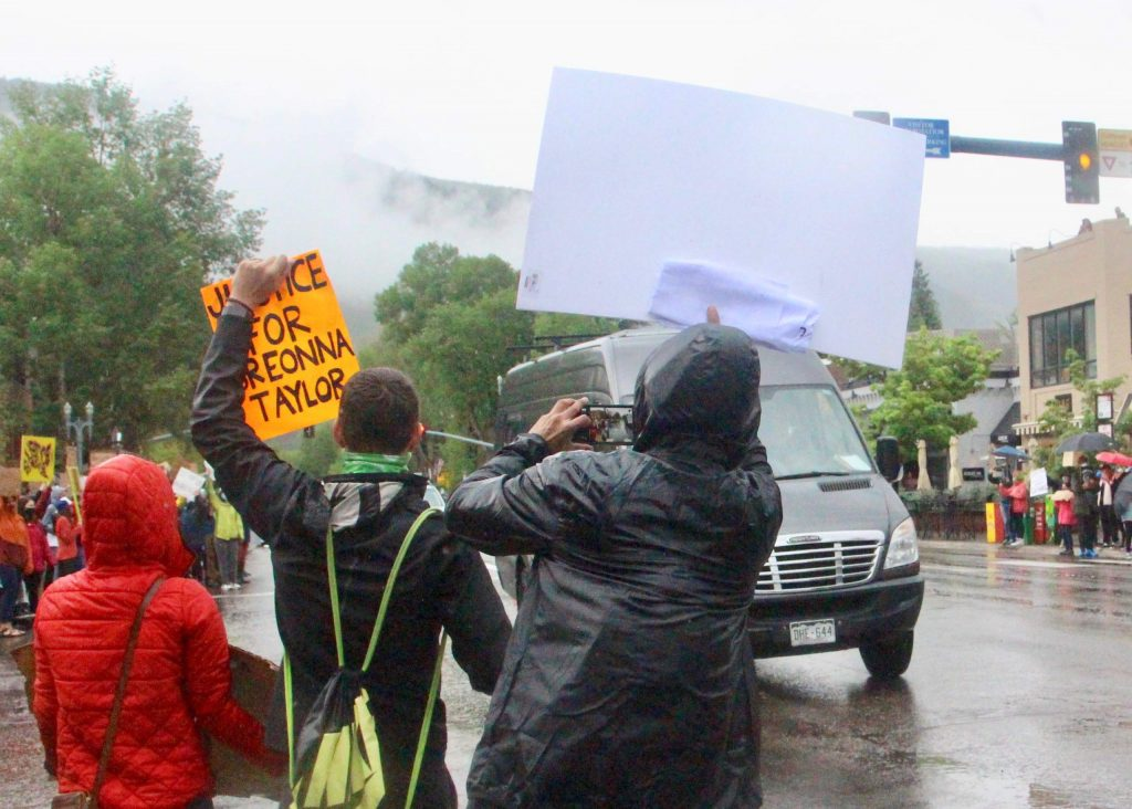 An estimated 300-400 people took to the streets for a Black Lives Matter protest on Saturday, June 6, 2020, in Aspen. (Photo by Austin Colbert/The Aspen Times)