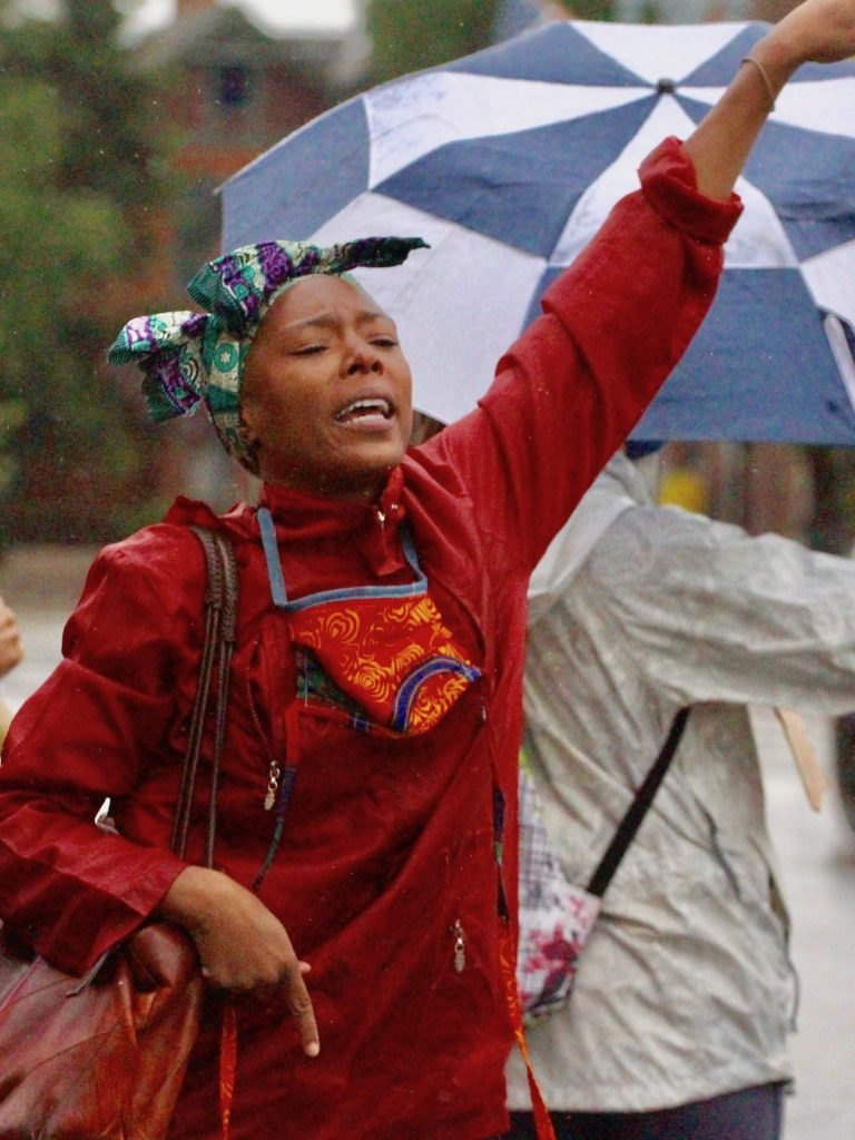 Local dancer and march organizer Jenelle Figgins points directions during a Black Lives Matter protest on Saturday, June 6, 2020, in Aspen. (Photo by Austin Colbert/The Aspen Times)