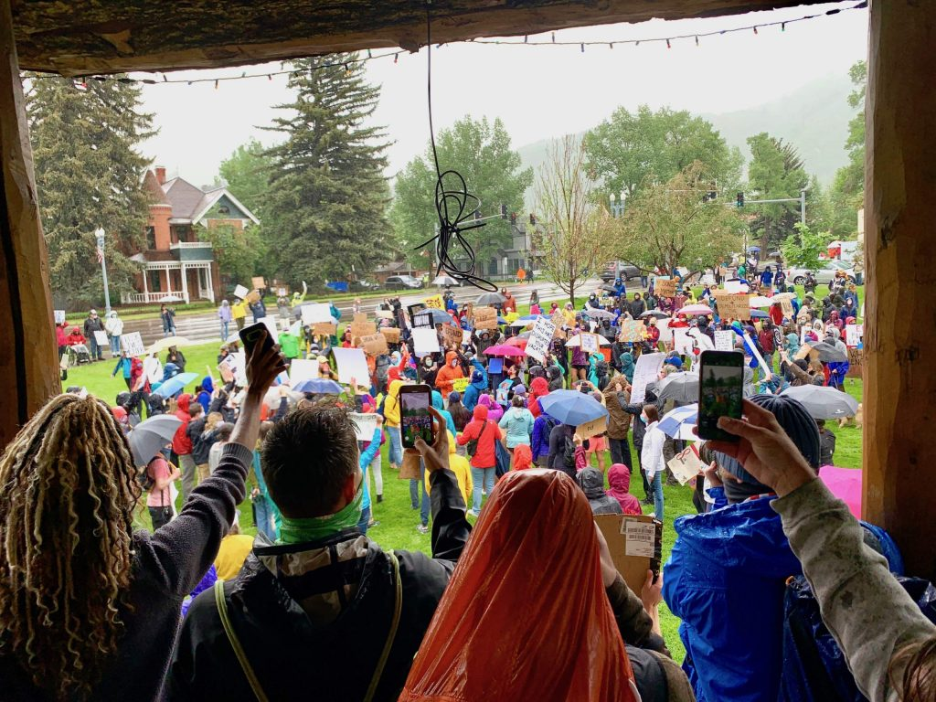 Black Lives Matter protesters gather at Paepcke Park on Saturday, June 6, 2020, in Aspen. (Photo by Austin Colbert/The Aspen Times)