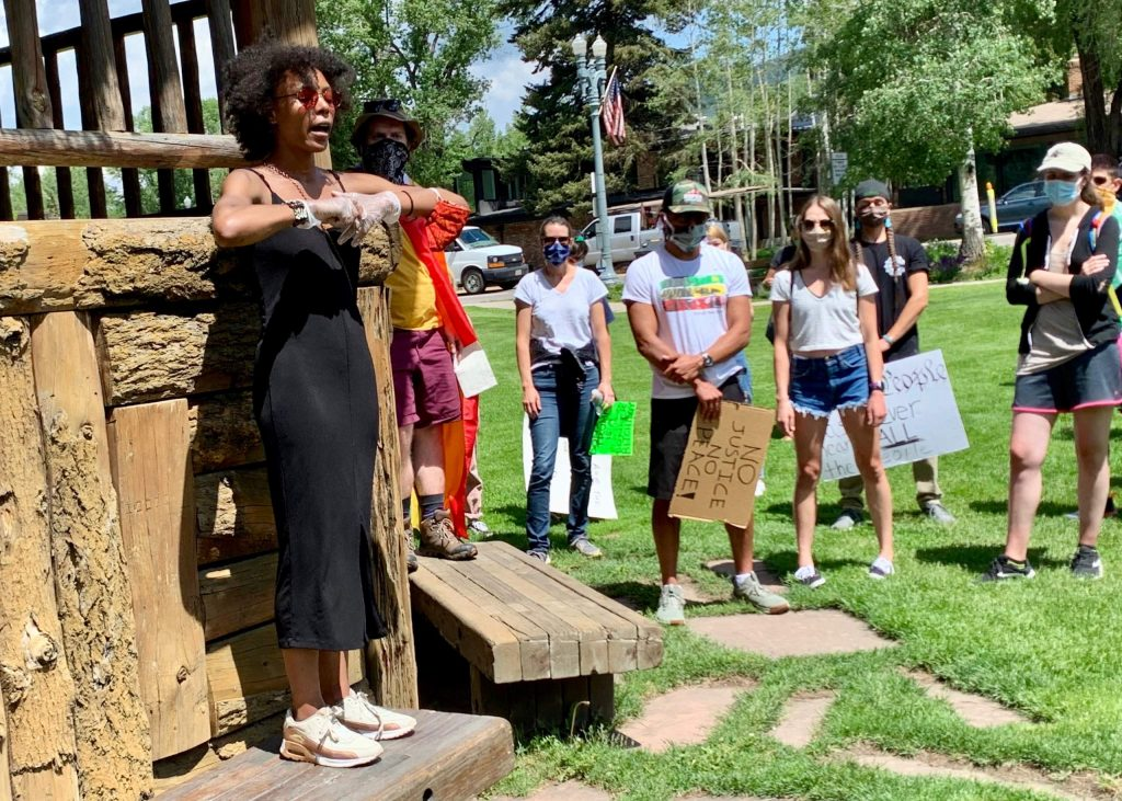Jenelle Figgins, one of the co-founders of the Roaring Fork Show Up movement, talks to the crowd during a Black Lives Matter protest on Saturday, June 13, 2020 at Paepcke Park in Aspen.