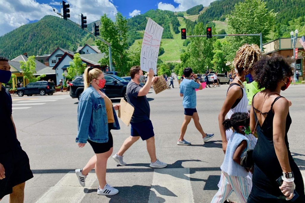 Protesters gather off Main Street for a Black Lives Matter march on Saturday, June 13, 2020, in Aspen.