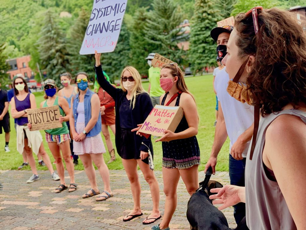 Protesters gather at Wagner Park for a Black Lives Matter march on Saturday, June 13, 2020, in Aspen.