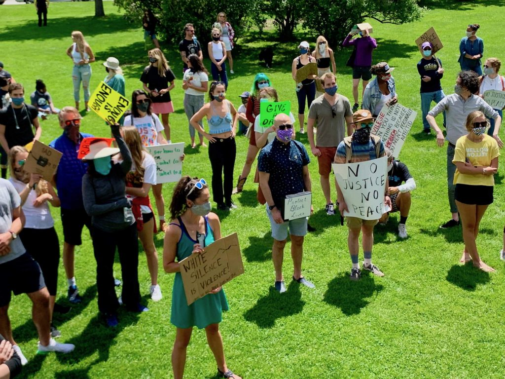 Black Lives Matter protesters gather at Paepcke Park on Saturday, June 13, 2020, in Aspen.