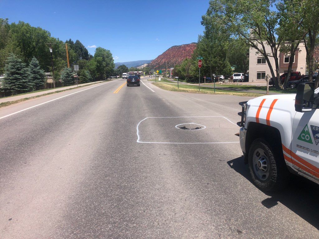 A section of northbound Colorado Highway 133 in Carbondale is being detoured due to a sinkhole.