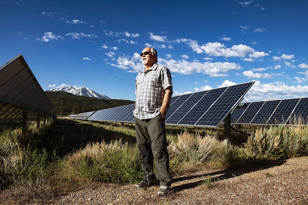 Sunsense Solar president Scott Ely stands in a solar farm in Carbondale on Friday, May 29, 2020. (Kelsey Brunner/The Aspen Times)