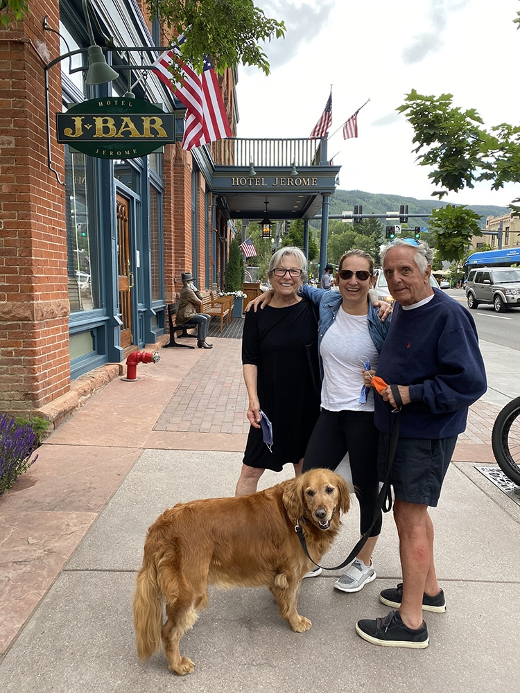 Susie and Freddy Shapiro celebrate their 51st anniversary on the 4th of July with their daughter, Vicki, and golden retriever, Ella.