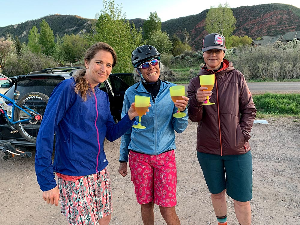 Tailgating like pros after a group ride – Rachel Hadley, Annie Gonzalez and Ann Driggers.