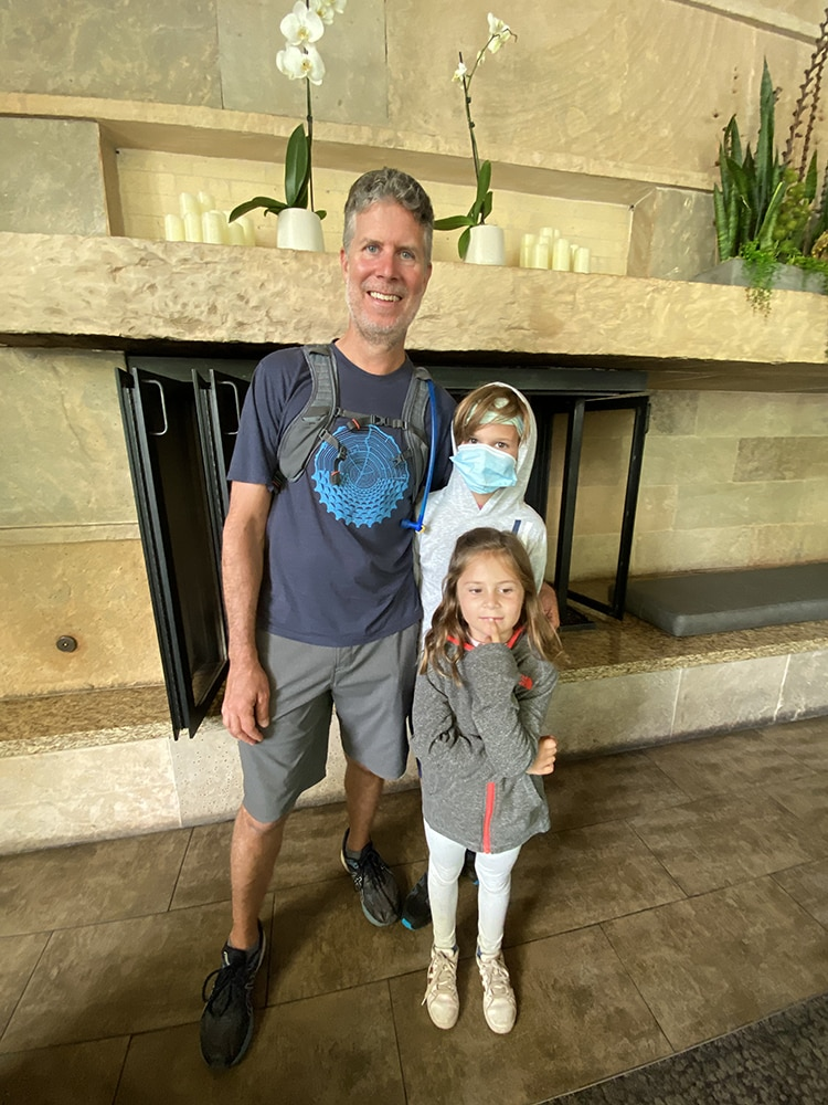 Former Aspen local Todd Buchman with kids Ezra and Ari, about to meet up with his wife, Rhonda, and their older daughter, Drea.