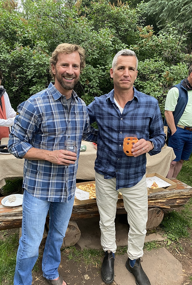 Friends Craig Rogers and Curt Sanders at a 4th of July get-together in Heron Park.