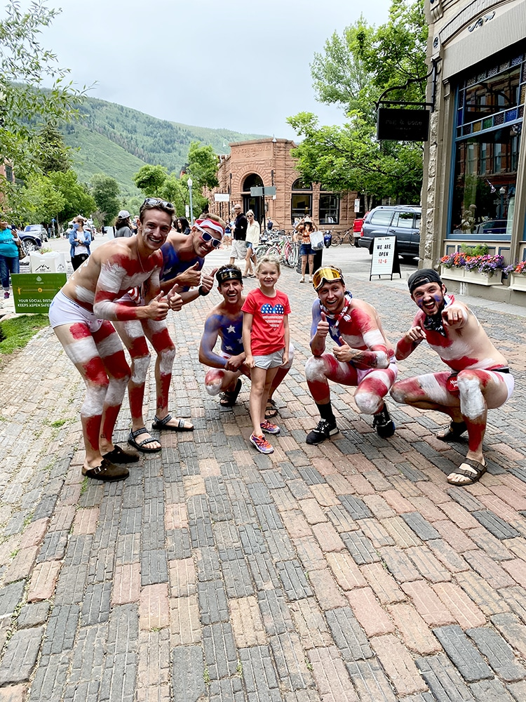 Ella Willson of Kansas City strikes a pose with a festive group on the 4th.