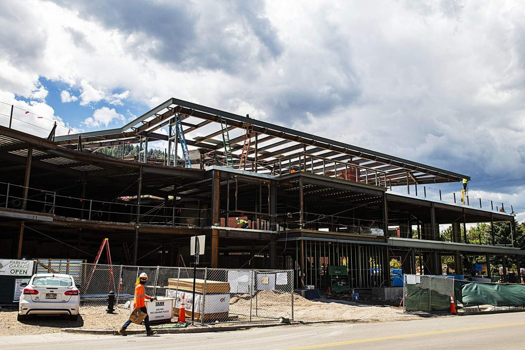 The ongoing city offices building project on Wednesday, July 29, 2020. (Kelsey Brunner/The Aspen Times)