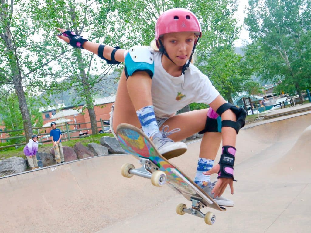 Kaia Gamber, of Laguna Beach, California, skateboards in the local park on Saturday, July 4, 2020, in Aspen. (Photo by Austin Colbert/The Aspen Times)