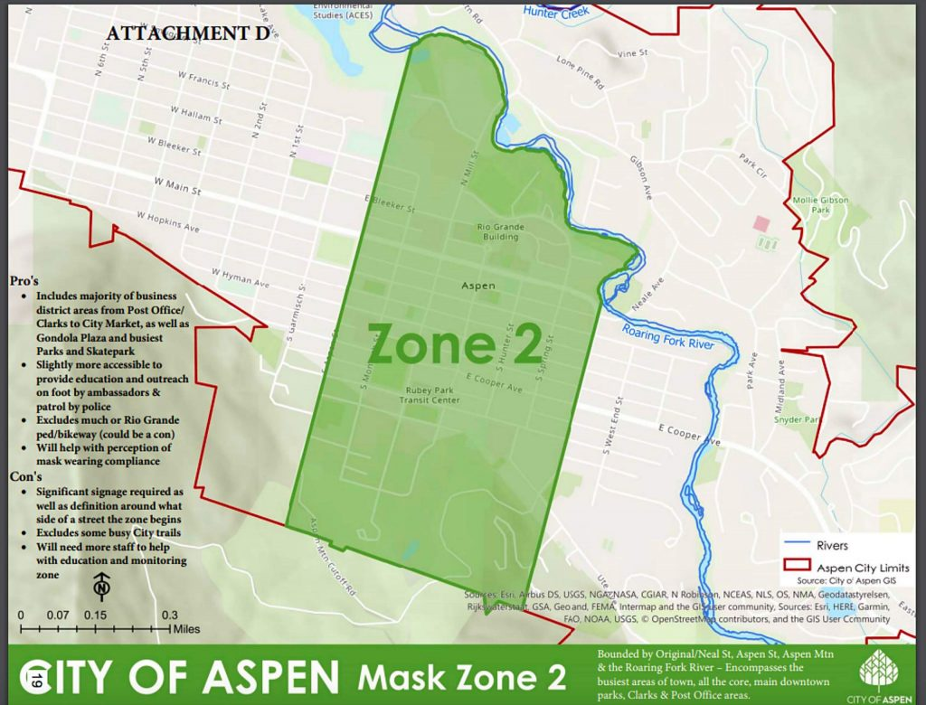 The 'central zone' boundaries that could be a new facial coverings zone that Aspen elected officials will decide next week.