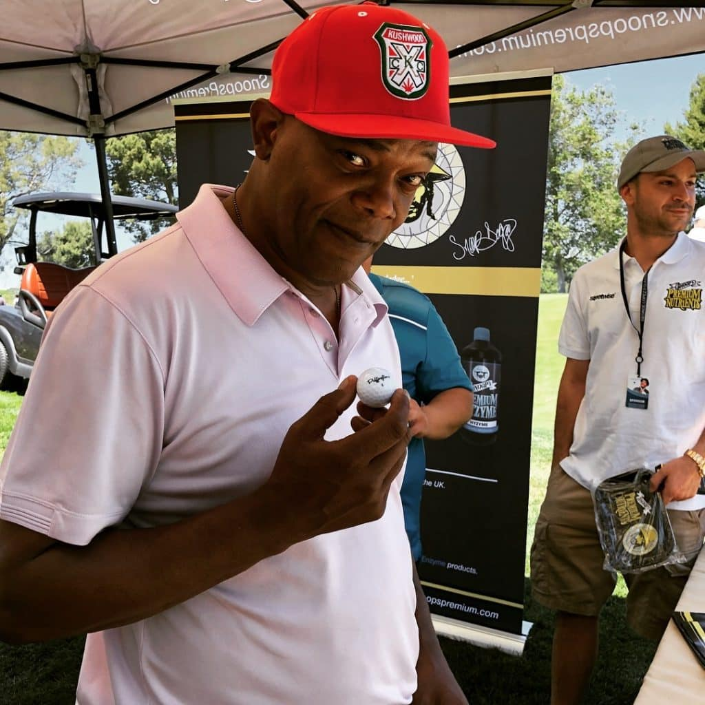Team Puffingtons honorary member Samuel L. Jackson at the 12th Annual George Lopez Celebrity Golf Classic.