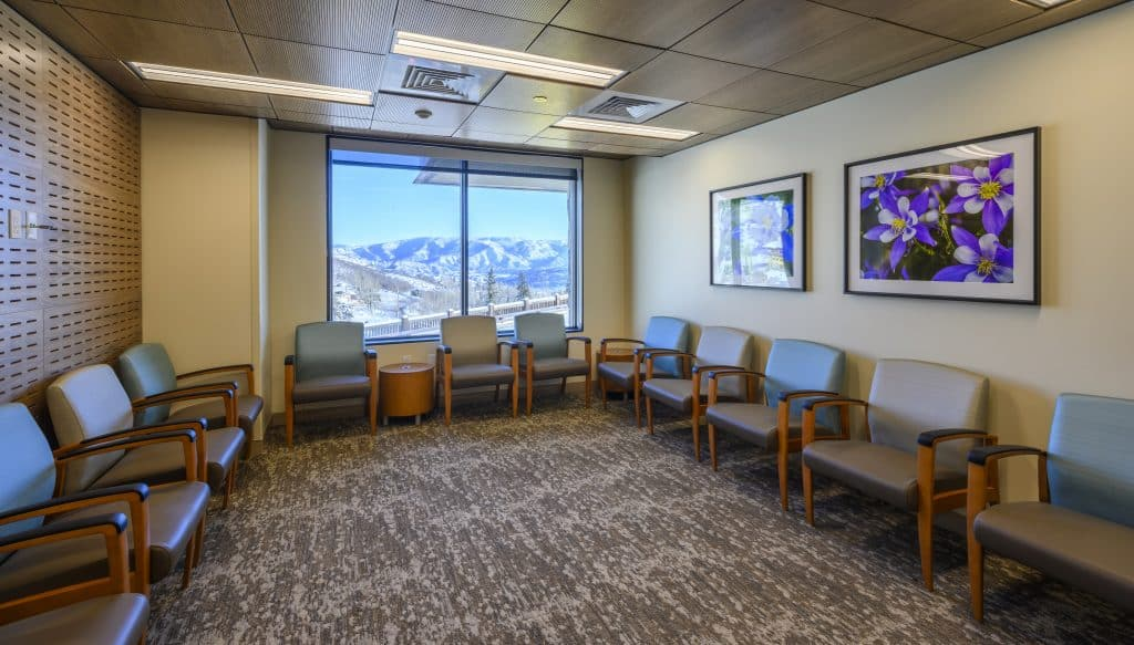 Snowmass Clinic waiting room with views across the Brush Creek Valley.