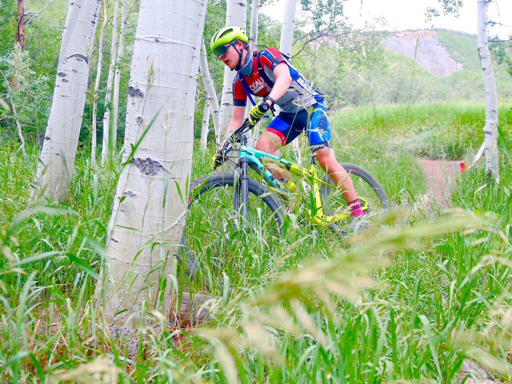 Avon's Garret Moehring competes in the Snowmass 50 mountain bike race on Saturday, July 25, 2020, in Snowmass Village. (Photo by Austin Colbert/The Aspen Times)