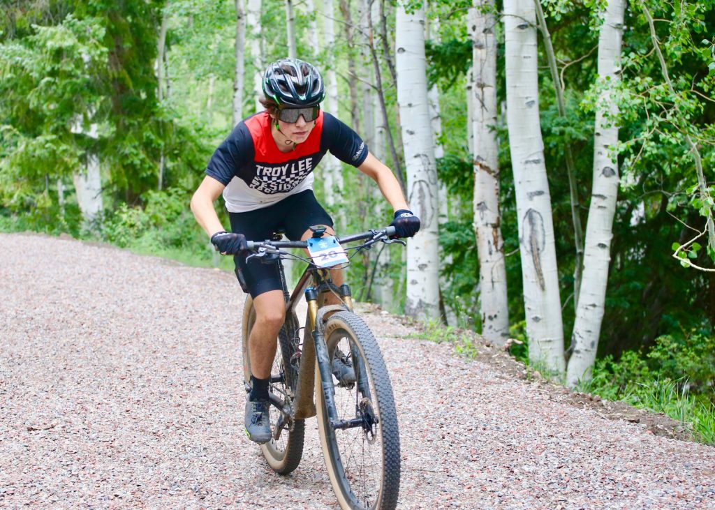 Woody Creek's Finn Johnson competes in the Snowmass 50 mountain bike race on Saturday, July 25, 2020, in Snowmass Village. (Photo by Austin Colbert/The Aspen Times)