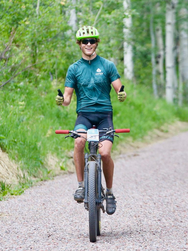 Glenwood's Erik Novy competes in the Snowmass 50 mountain bike race on Saturday, July 25, 2020, in Snowmass Village. (Photo by Austin Colbert/The Aspen Times)