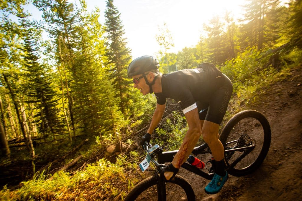 Dean Hill competes in the team portion of the Snowmass 50 mountain bike race on Sunday, July 26, 2020.