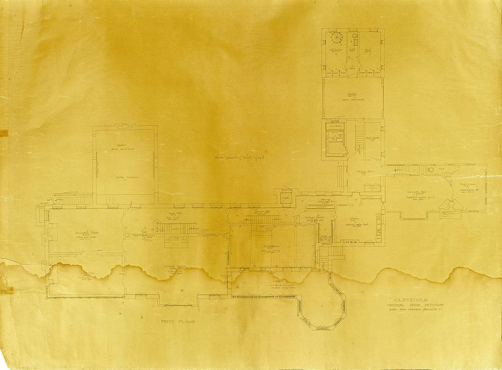 The Redstone Historical Society inherited the 1899 architect's drawings of Cleveholm Manor, now known as Redstone Castle. The faded and water-stained drawings were restored.