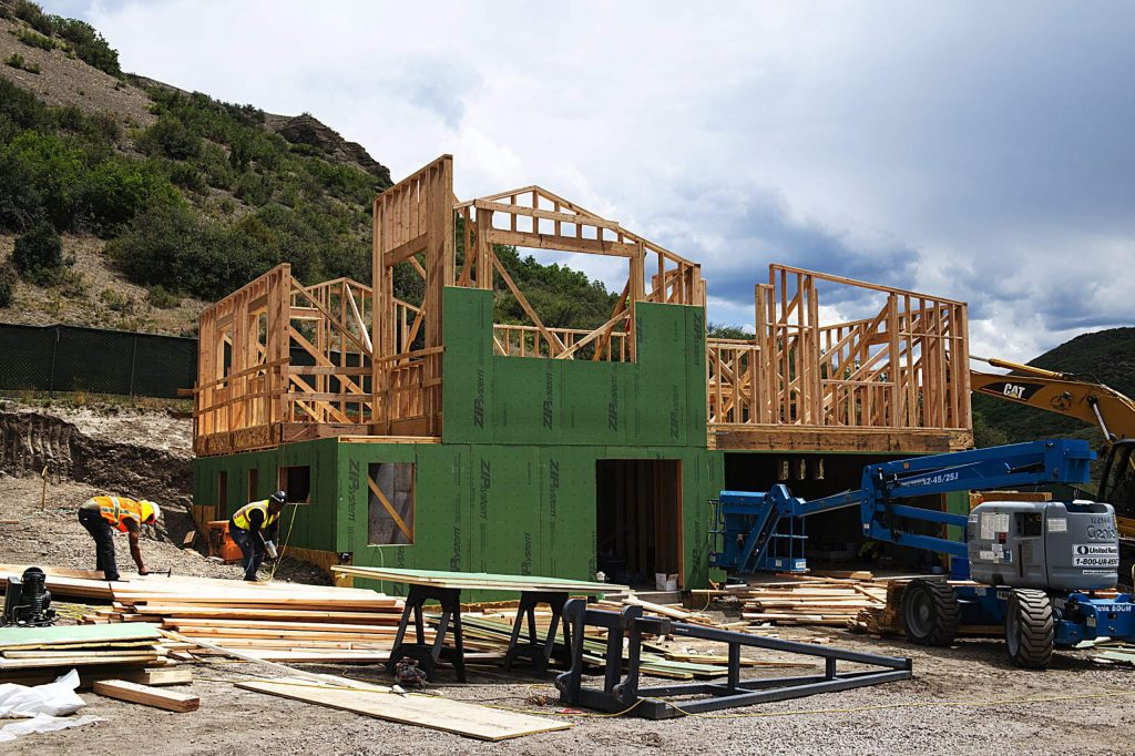 Construction on homes in Lot 9 at the Coffey Place housing project in Snowmass on Thursday, July 16, 2020. (Kelsey Brunner/Snowmass Sun)