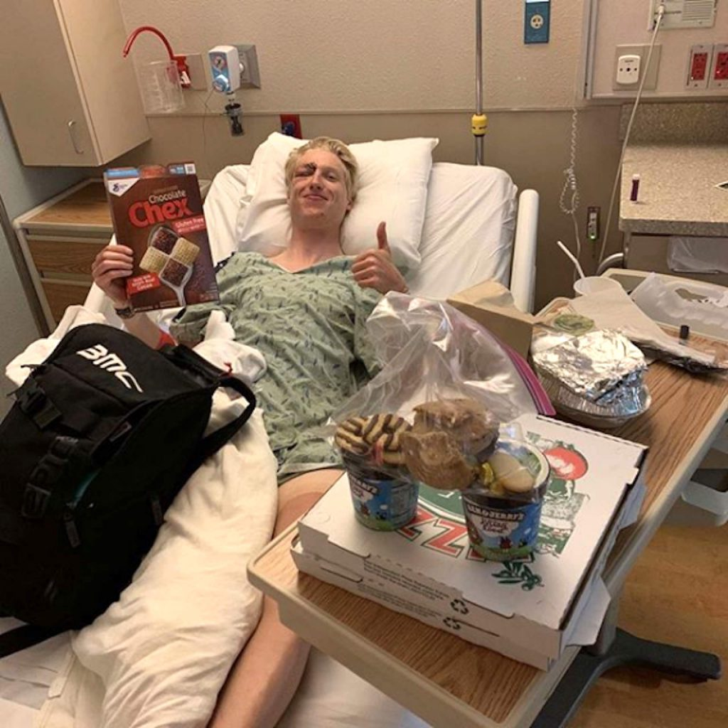 Keegan Swirbul lies in a hospital bed after being involved in a crash on his bicycle last winter. Thankfully, it wasn't too serious and didn't keep him off his bike for too long.