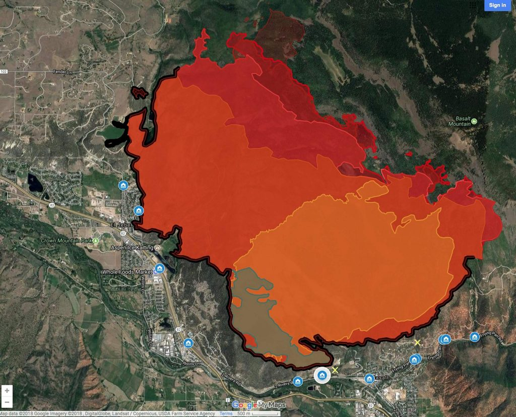 This map shows the land affected by the Lake Christine Fire. The Kims' property is between the two fingers extending furthest to the left. Their irrigated meadow and water efforts helped contain the fire.