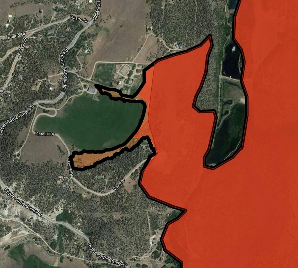 This map shows how far west the Lake Christine Fire advanced on July 4-5, 2018. The Kims' irrigated meadow between the fingers helped stop the advance of the flames.