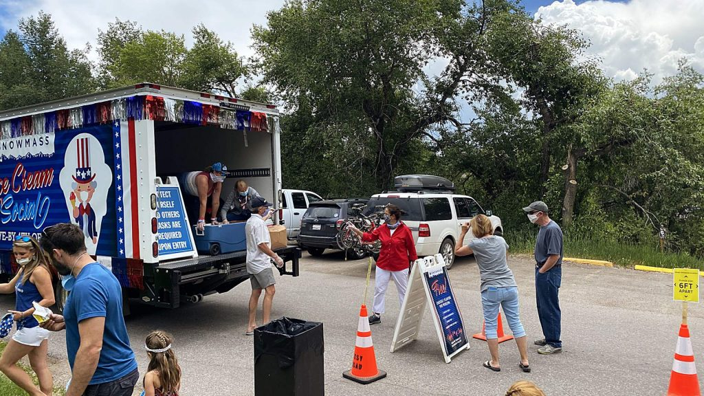 The Snowmass Ice Cream Anti-Social event  rolled through the village Saturday to celebrate the Fourth of July. The makeshift ice cream truck made a number of stops through the village, including one on Woodbridge Road, before ending back at the mall area. It was put on in lieu of the annual Independence Day community events and concert.