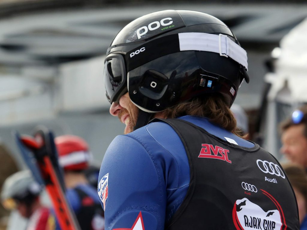 Former World Cup ski racer Casey Puckett smiles after a race during the eighth annual Audi Ajax Cup in Aspen. The five-time Olympian was recently named the head technical coach for the women's Europa Cup alpine team by U.S. Ski and Snowboard. (Photo by Austin Colbert/The Aspen Times)