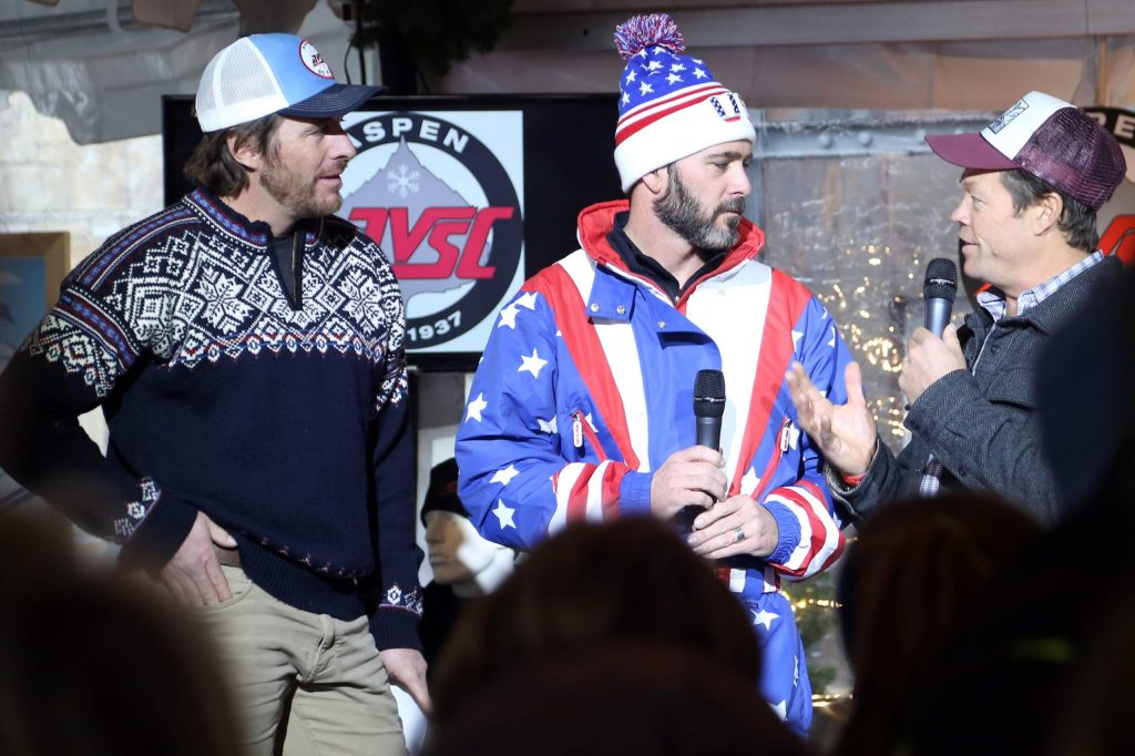 Casey Puckett, left, stands with NASCAR driver Jimmie Johnson, center, and National Geographic photographer Pete McBride during the 2016 Audi Ajax Cup at the base of Aspen Mountain. (Photo by Austin Colbert/The Aspen Times)